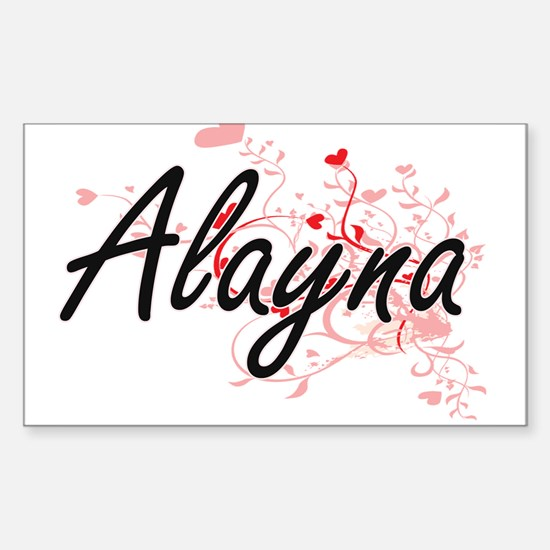 Alayna Artistic Name Design with Hearts Decal