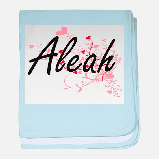 Aleah Artistic Name Design with Heart baby blanket