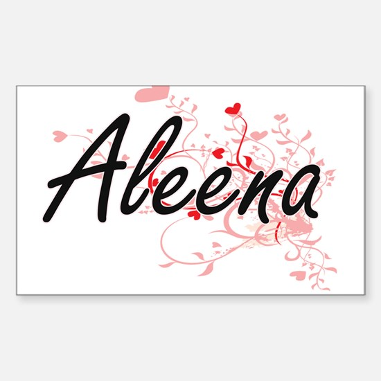 Aleena Artistic Name Design with Hearts Decal