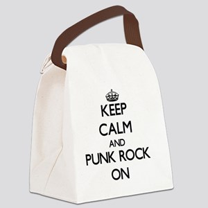 Keep Calm and Punk Rock ON Canvas Lunch Bag