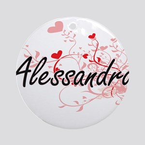 Alessandra Artistic Name Design w Ornament (Round)