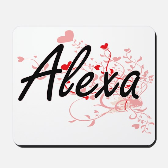 Alexa Artistic Name Design with Hearts Mousepad