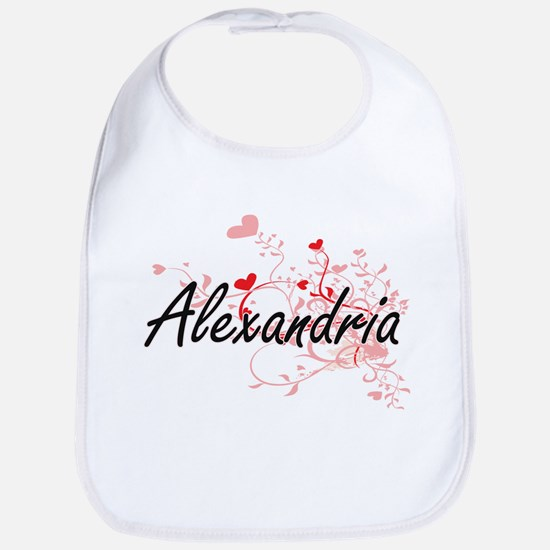 Alexandria Artistic Name Design with Hearts Bib