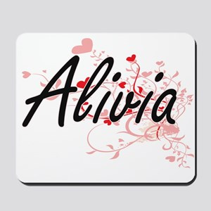 Alivia Artistic Name Design with Hearts Mousepad