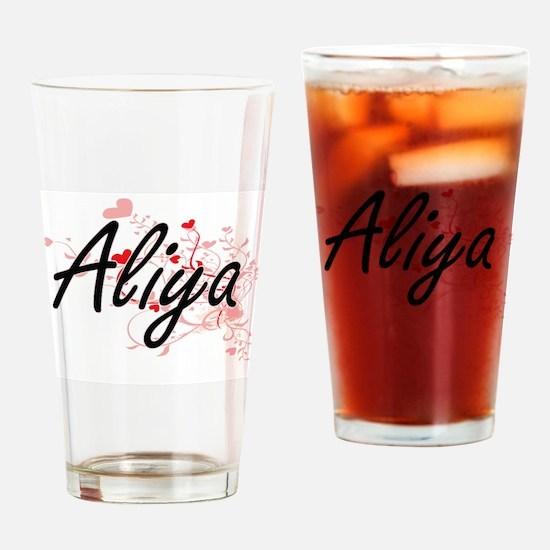 Aliya Artistic Name Design with Hea Drinking Glass