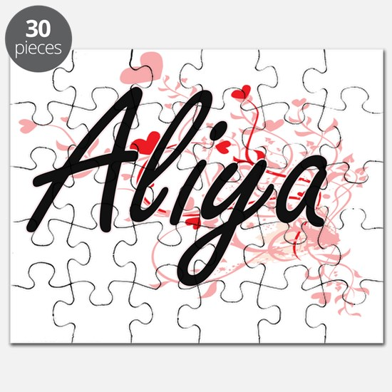 Aliya Artistic Name Design with Hearts Puzzle