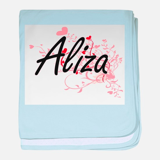 Aliza Artistic Name Design with Heart baby blanket