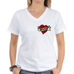 Mom heart tattoo Women's V-Neck T-Shirt