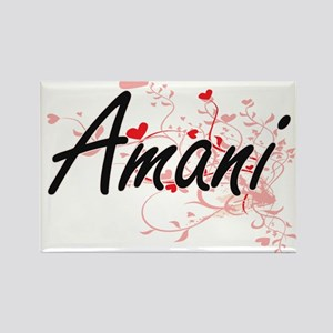 Amani Artistic Name Design with Hearts Magnets