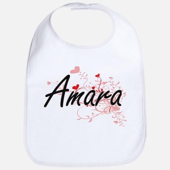 Amara Artistic Name Design with Hearts Bib