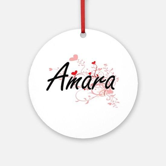 Amara Artistic Name Design with H Ornament (Round)