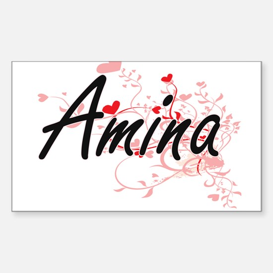 Amina Artistic Name Design with Hearts Decal