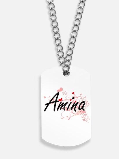 Amina Artistic Name Design with Hearts Dog Tags