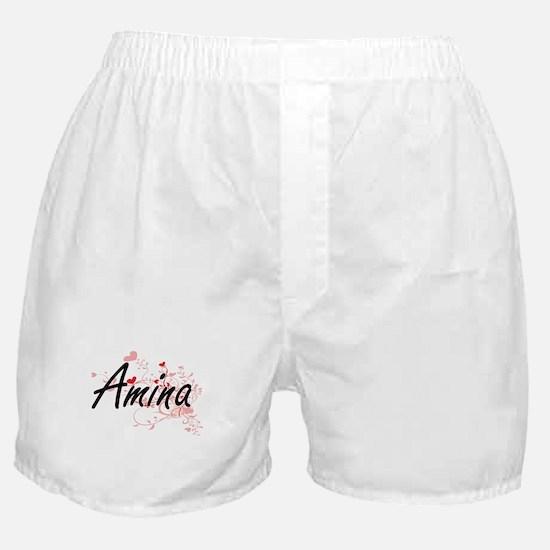 Amina Artistic Name Design with Heart Boxer Shorts