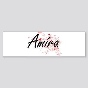 Amira Artistic Name Design with Hea Bumper Sticker