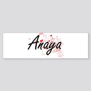 Anaya Artistic Name Design with Hea Bumper Sticker