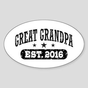 Great Grandpa Est. 2016 Sticker (Oval)