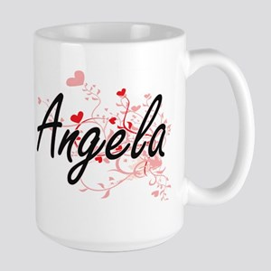 Angela Artistic Name Design with Hearts Mugs
