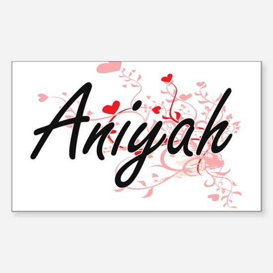 Aniyah Artistic Name Design with Hearts Decal