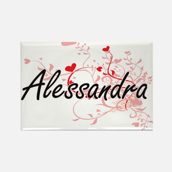 Alessandra Artistic Name Design with Heart Magnets