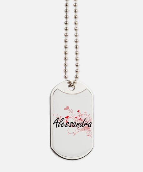 Alessandra Artistic Name Design with Hear Dog Tags