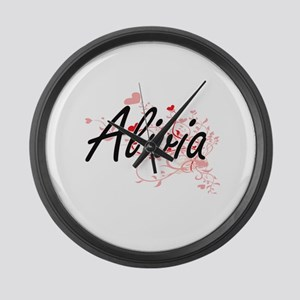 Alivia Artistic Name Design with Large Wall Clock