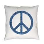 Blue Peace Sign Everyday Pillow