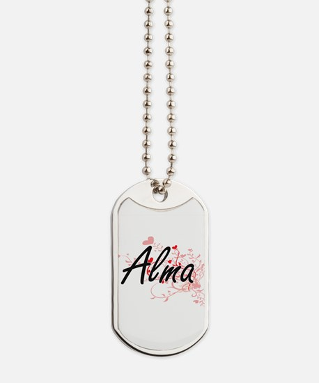 Alma Artistic Name Design with Hearts Dog Tags