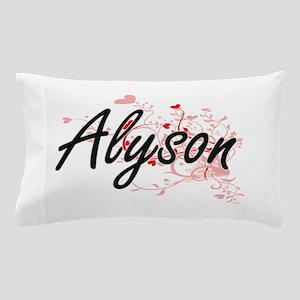 Alyson Artistic Name Design with Heart Pillow Case