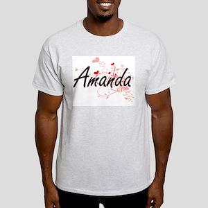 Amanda Artistic Name Design with Hearts T-Shirt