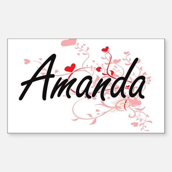 Amanda Artistic Name Design with Hearts Decal