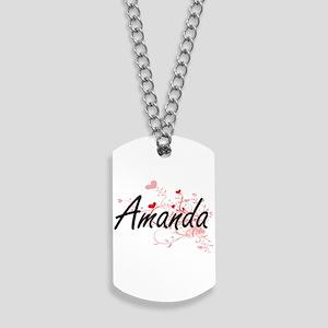 Amanda Artistic Name Design with Hearts Dog Tags