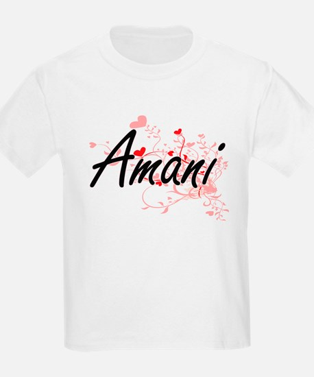 Amani Artistic Name Design with Hearts T-Shirt