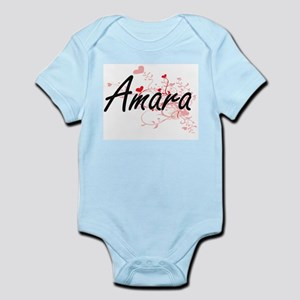 Amara Artistic Name Design with Hearts Body Suit