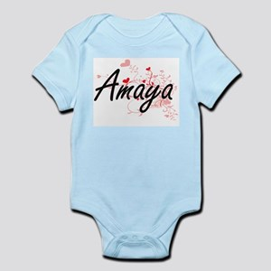 Amaya Artistic Name Design with Hearts Body Suit