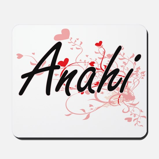 Anahi Artistic Name Design with Hearts Mousepad