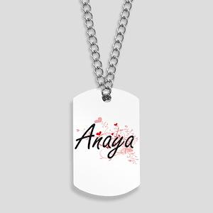Anaya Artistic Name Design with Hearts Dog Tags