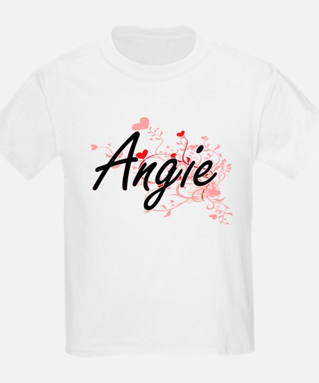 Angie Artistic Name Design with Hearts T-Shirt