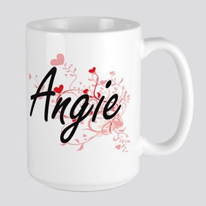 Angie Artistic Name Design with Hearts Mugs