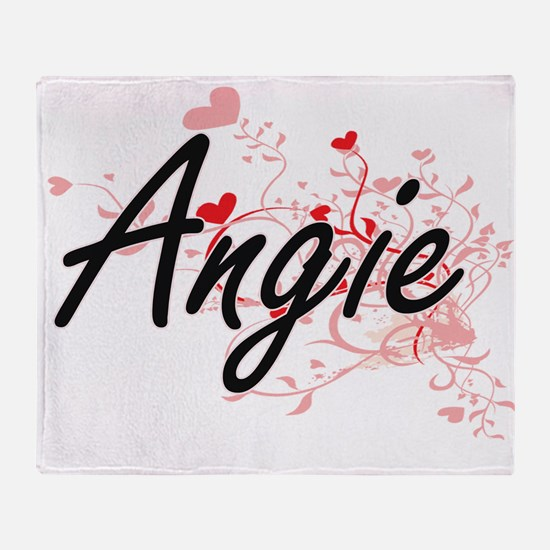 Angie Artistic Name Design with Hear Throw Blanket