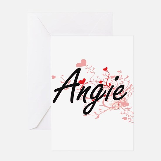 Angie Artistic Name Design with Hea Greeting Cards