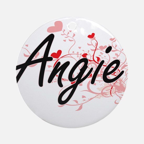 Angie Artistic Name Design with H Ornament (Round)