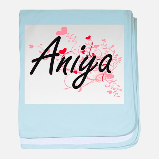 Aniya Artistic Name Design with Heart baby blanket