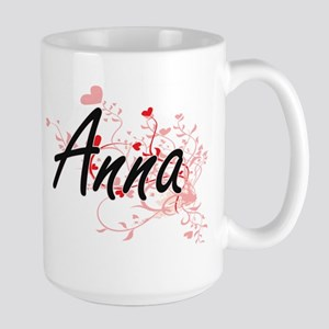 Anna Artistic Name Design with Hearts Mugs