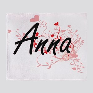 Anna Artistic Name Design with Heart Throw Blanket