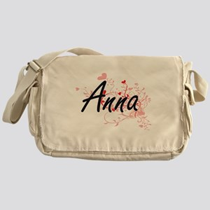 Anna Artistic Name Design with Heart Messenger Bag