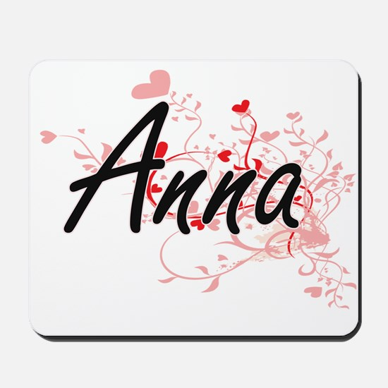Anna Artistic Name Design with Hearts Mousepad