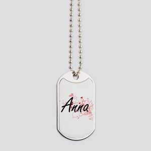 Anna Artistic Name Design with Hearts Dog Tags