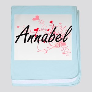 Annabel Artistic Name Design with Hea baby blanket