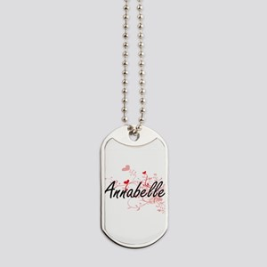 Annabelle Artistic Name Design with Heart Dog Tags